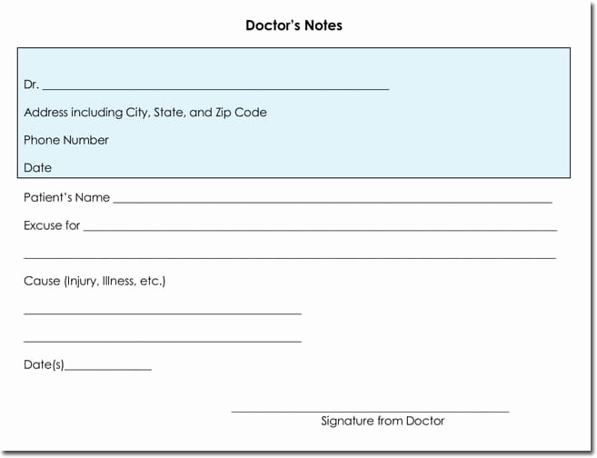 Printable Fake Doctors Notes Free Unique Doctor S Note Templates 28 Blank formats to Create