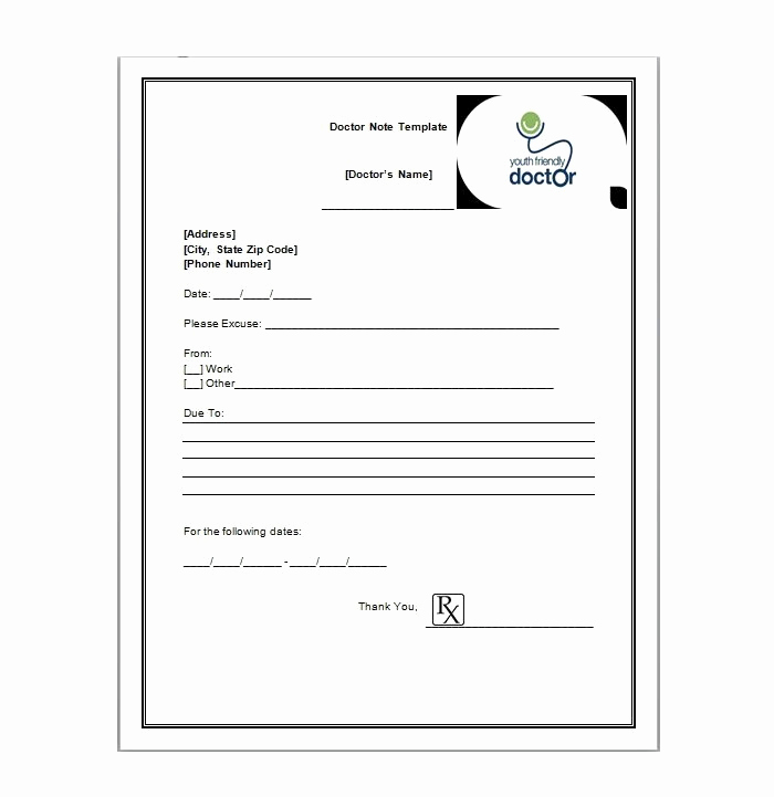 Printable Fake Doctors Notes Free Unique Free Printable Doctors Note for Work