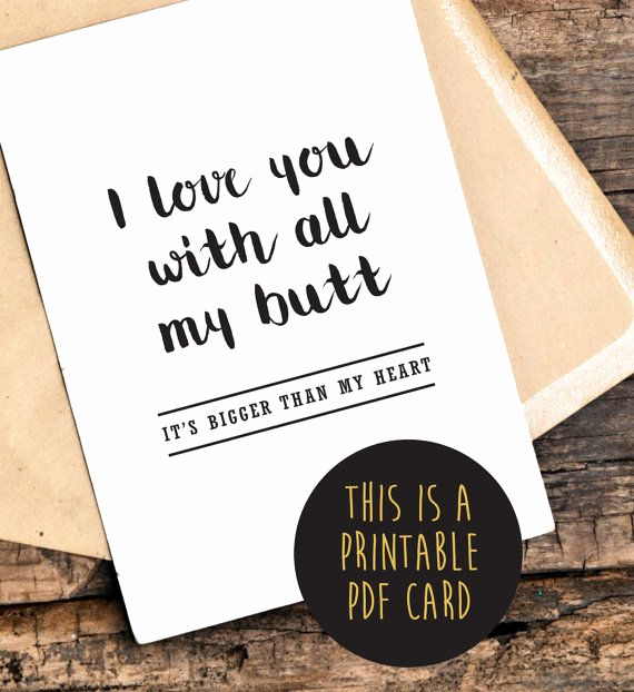 Printable Funny Birthday Cards Awesome Funny Love You Card Funny Anniversary Card by