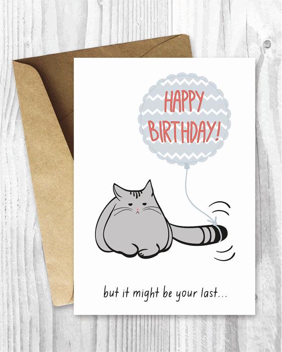 Printable Funny Birthday Cards Elegant Birthday Card Printable Birthday Card Funny Cat Birthday