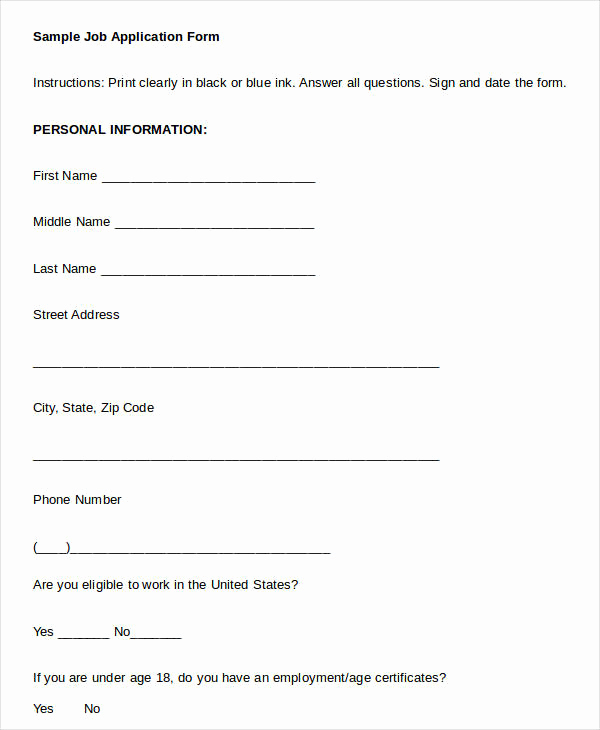 Printable Generic Job Application Best Of Blank Job Application 8 Free Word Pdf Documents
