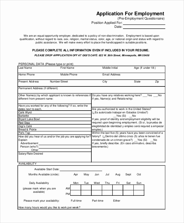 Printable Generic Job Application Unique 8 Generic Job Application Samples