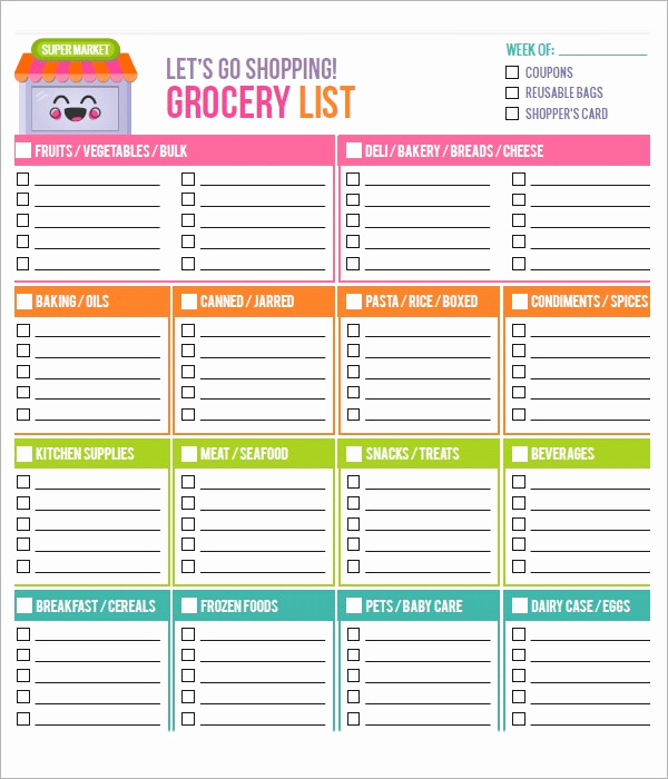 Printable Grocery List Template Beautiful Sample Grocery List Template 9 Free Documents In Word