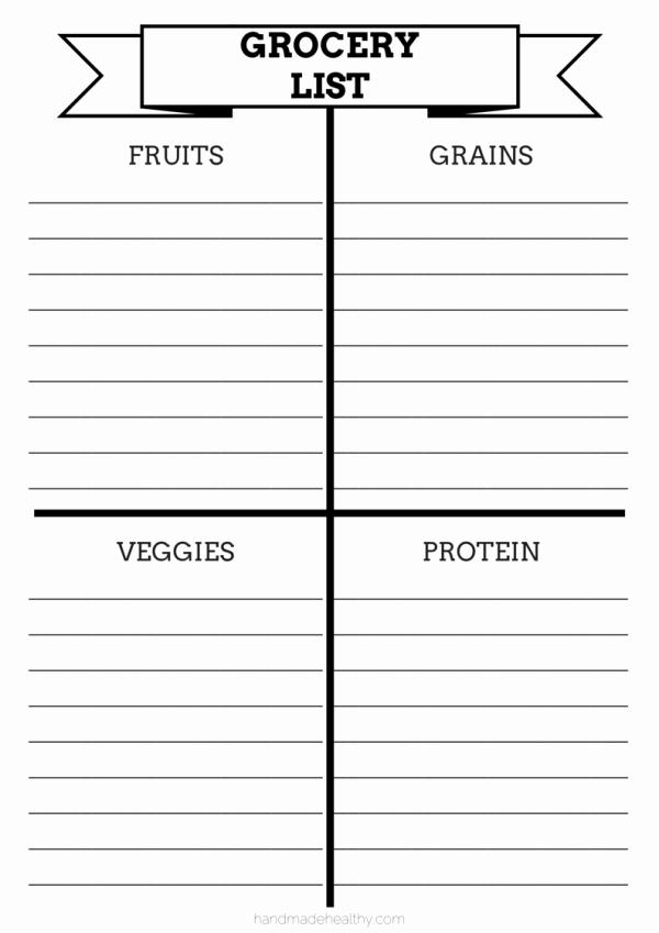 Printable Grocery List Template Inspirational 28 Free Printable Grocery List Templates