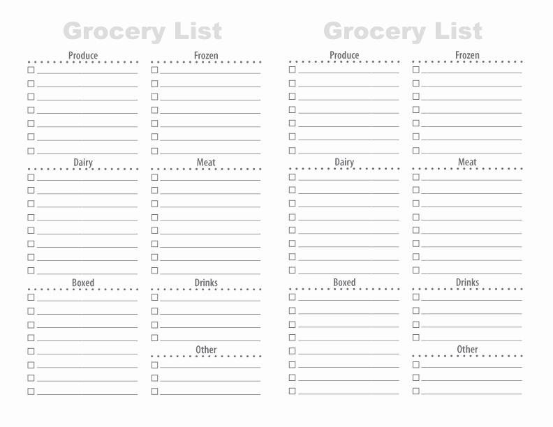 printable grocery list templates