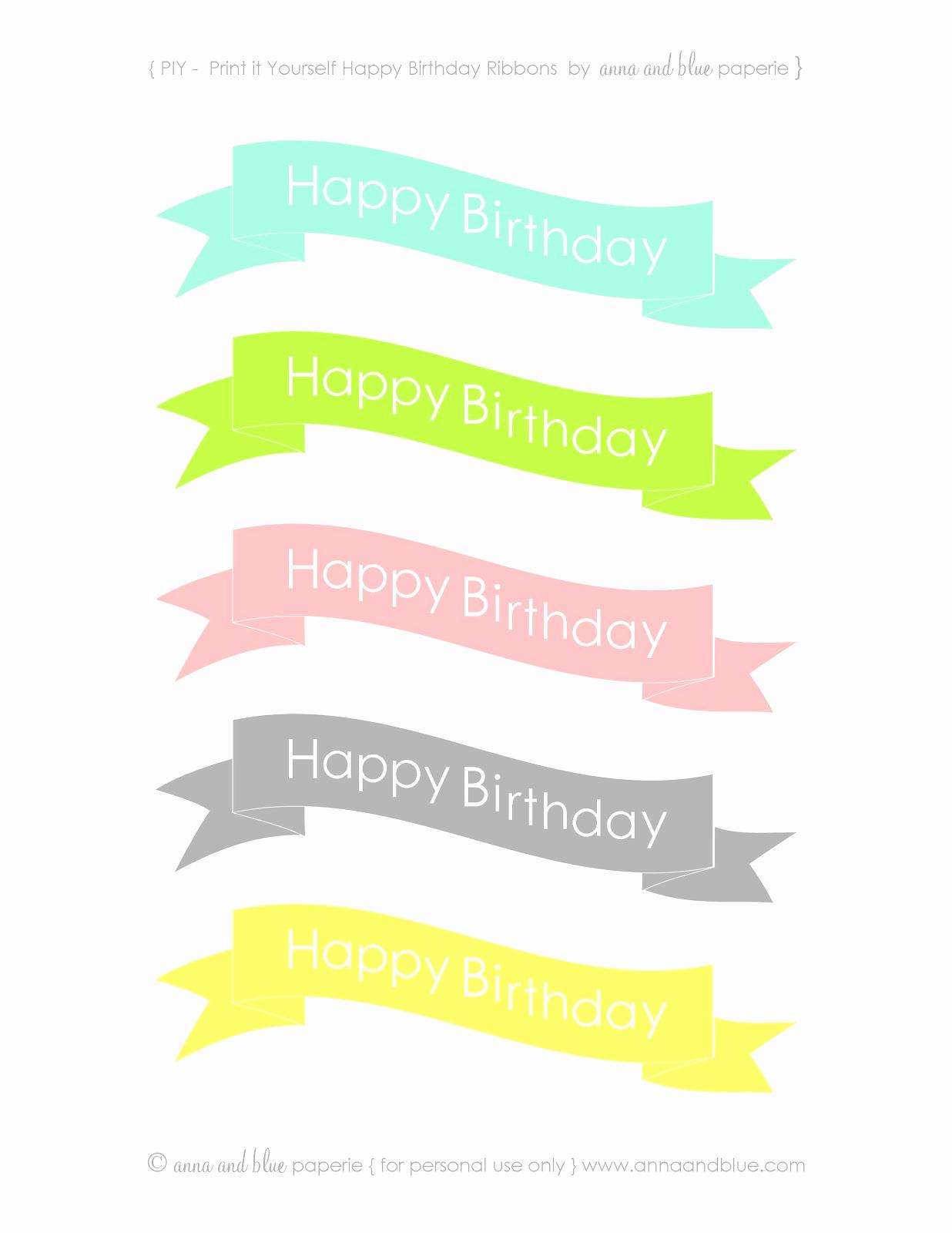 Printable Happy Birthday Banners Elegant Anna and Blue Paperie Free Printable Happy Birthday