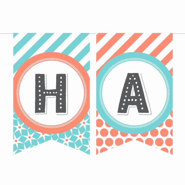 Printable Happy Birthday Banners Lovely Printable Birthday Banner In Coral & Aqua