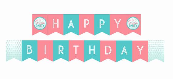 Printable Happy Birthday Banners Unique Diy Printable Spa Party Happy Birthday Banner Instant Download