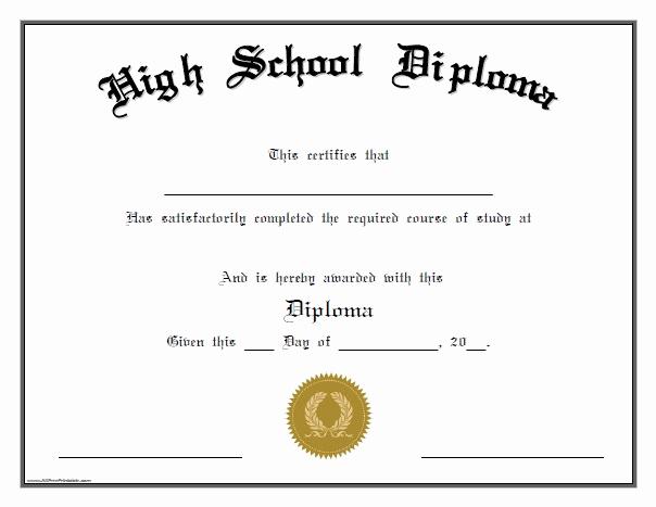 Printable High School Diploma Fresh High School Diploma Free Printable Allfreeprintable
