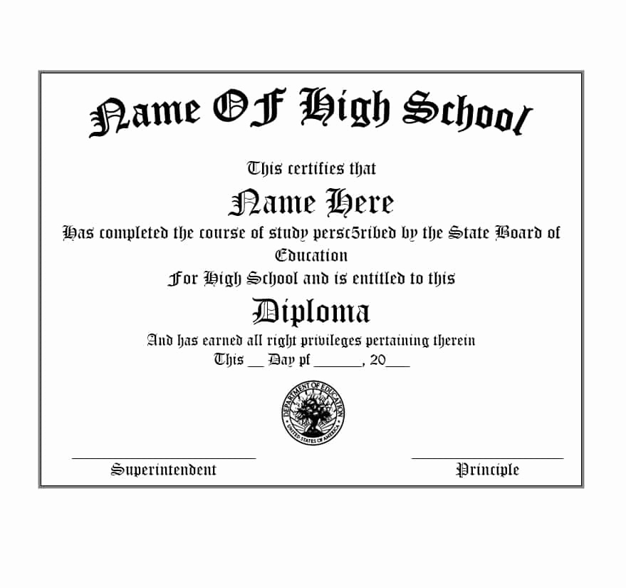 Printable High School Diploma Lovely 30 Real & Fake Diploma Templates High School College