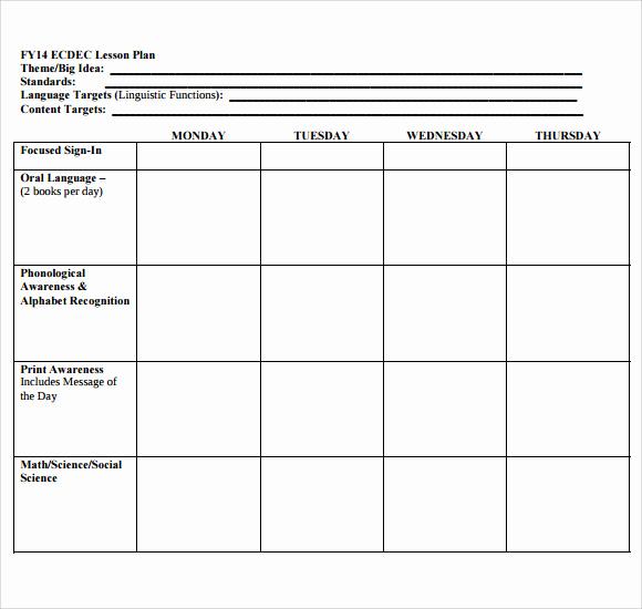 Printable Lesson Plan Template Best Of 11 Sample Blank Lesson Plans