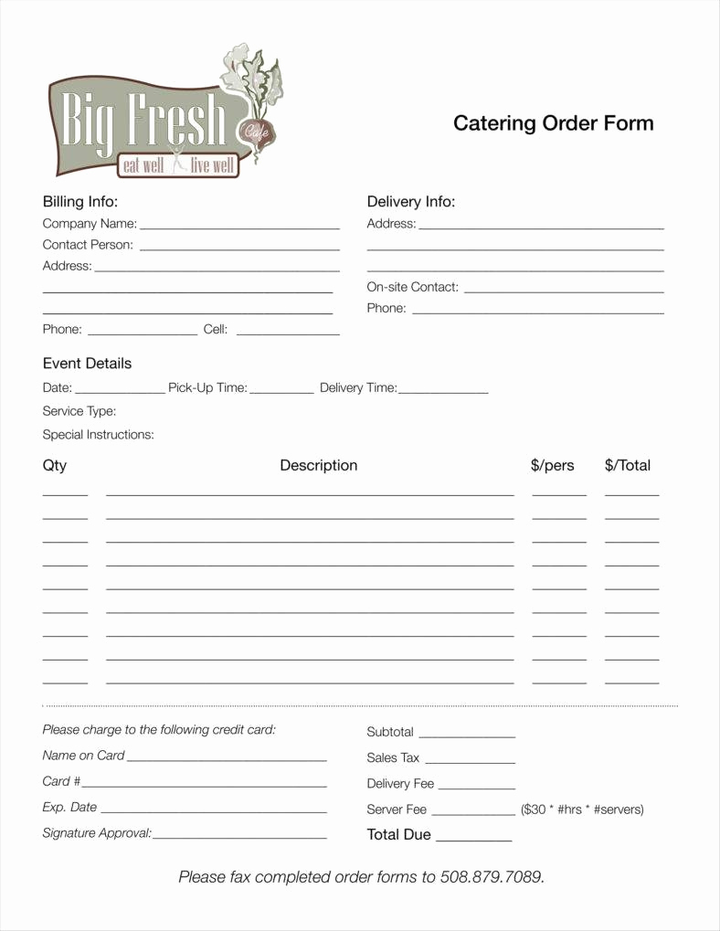 Printable order form Template Luxury 8 Catering order form Free Samples Examples Download