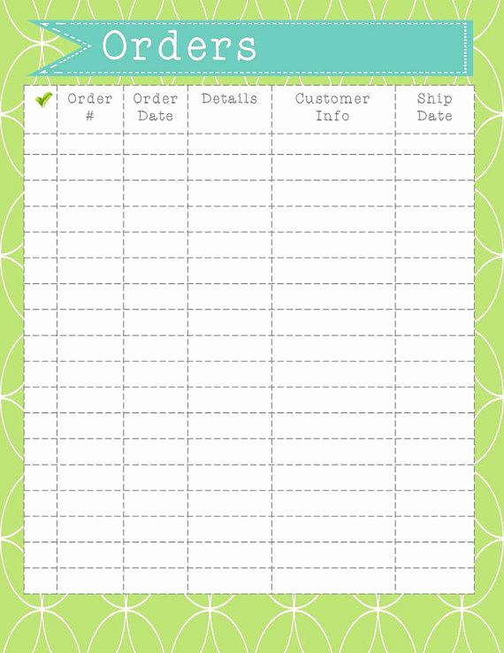 Printable order form Template New order form Printable Instant Download order organization