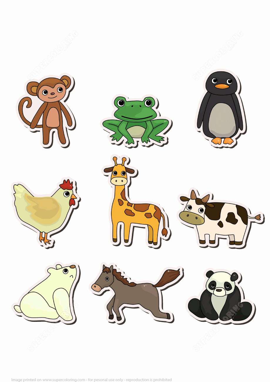 Printable Pictures Of Animals Beautiful Printable Stickers with Animals