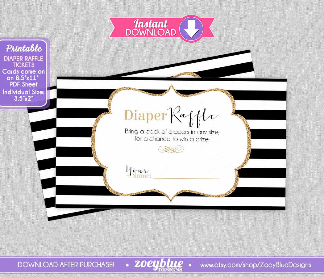 Printable Raffle Tickets Pdf Awesome Black White Gold Glitter Diaper Raffle Tickets by