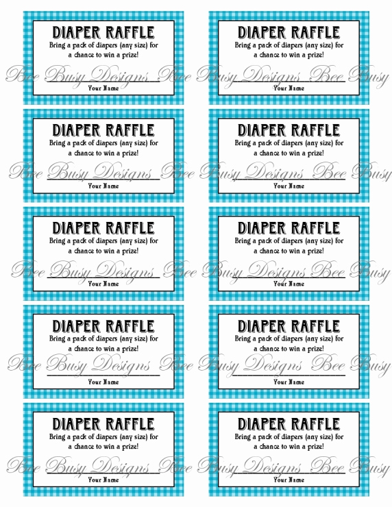 Printable Raffle Tickets Pdf Awesome Printable Blue Gingham Diaper Raffle Tickets Great for
