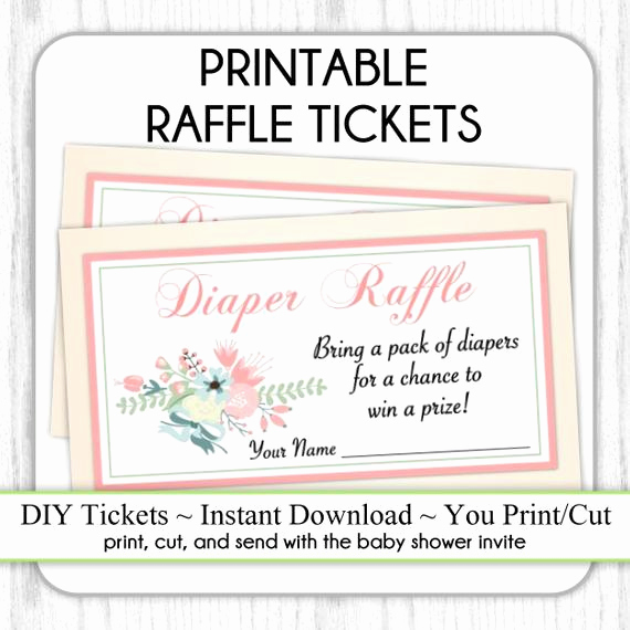 Printable Raffle Tickets Pdf Beautiful Diaper Raffle Tickets Floral Printable Diaper Raffle Tickets