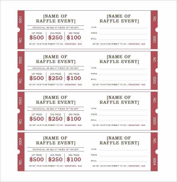 Printable Raffle Tickets Pdf New 115 Ticket Templates Word Excel Pdf Psd Eps