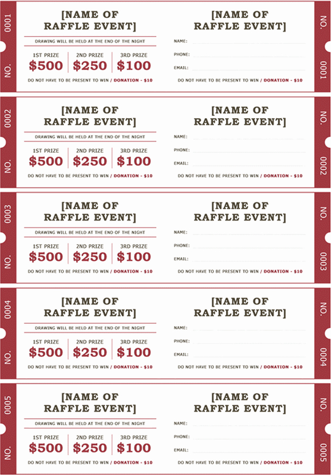 Printable Raffle Tickets Pdf Unique Download Printable Raffle Ticket Templates