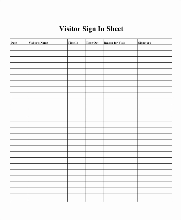 Printable Sign In Sheet Awesome Sample Printable Sign In Sheet 10 Examples In Word Pdf