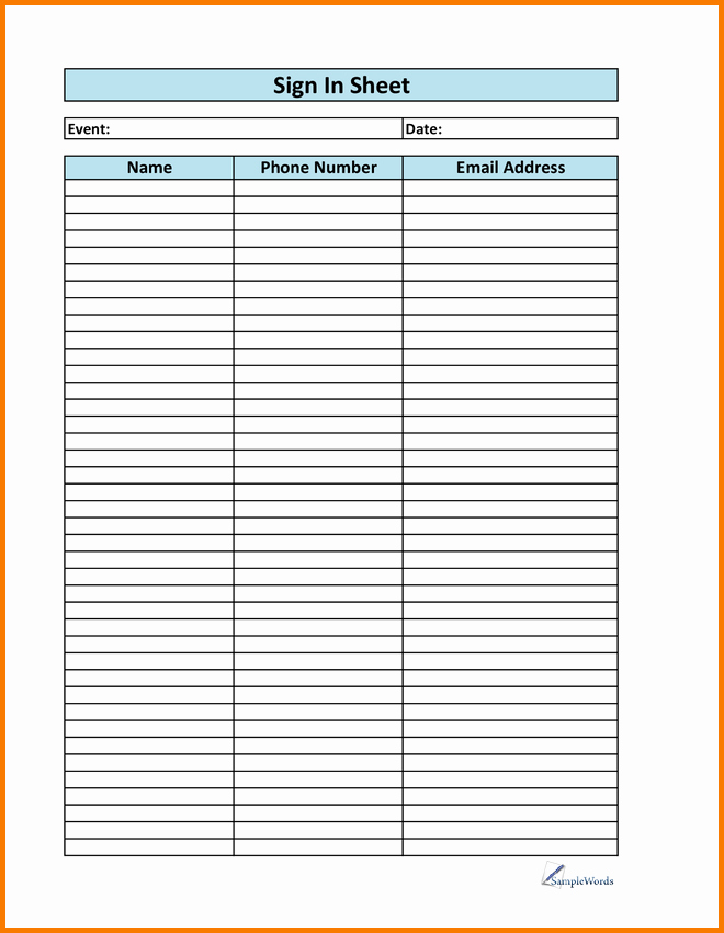 Printable Sign In Sheet Beautiful Printable Sign Up Sheet