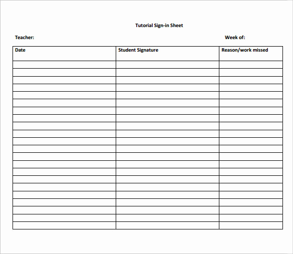 sample school sign in sheet