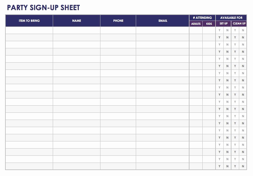 Printable Sign Up Sheet Awesome Free Sign In and Sign Up Sheet Templates