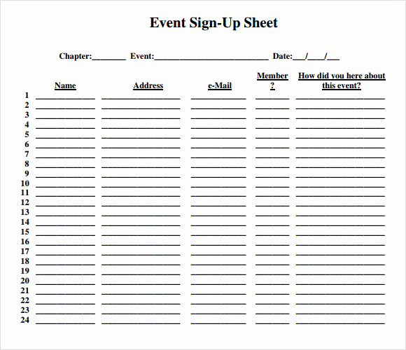 Printable Sign Up Sheet Fresh 13 Sign Up Sheet Samples
