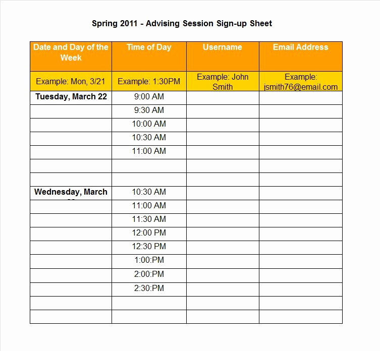Printable Sign Up Sheet New 40 Sign Up Sheet Sign In Sheet Templates Word & Excel