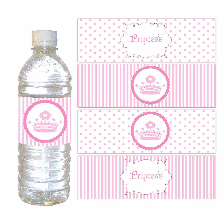 Printable Water Bottle Labels Elegant Printable Pink Polka Dots Stripes Princess Crown Water Bottle