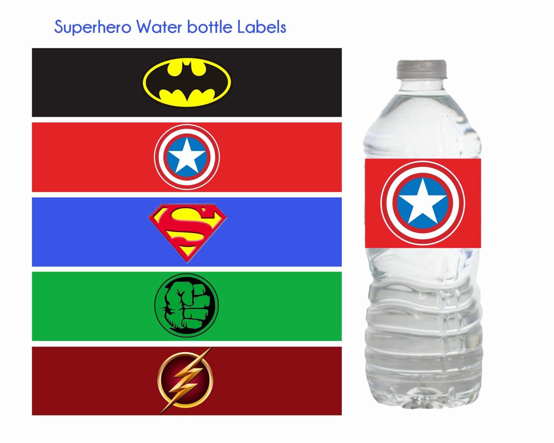 superhero water bottle labels superhero