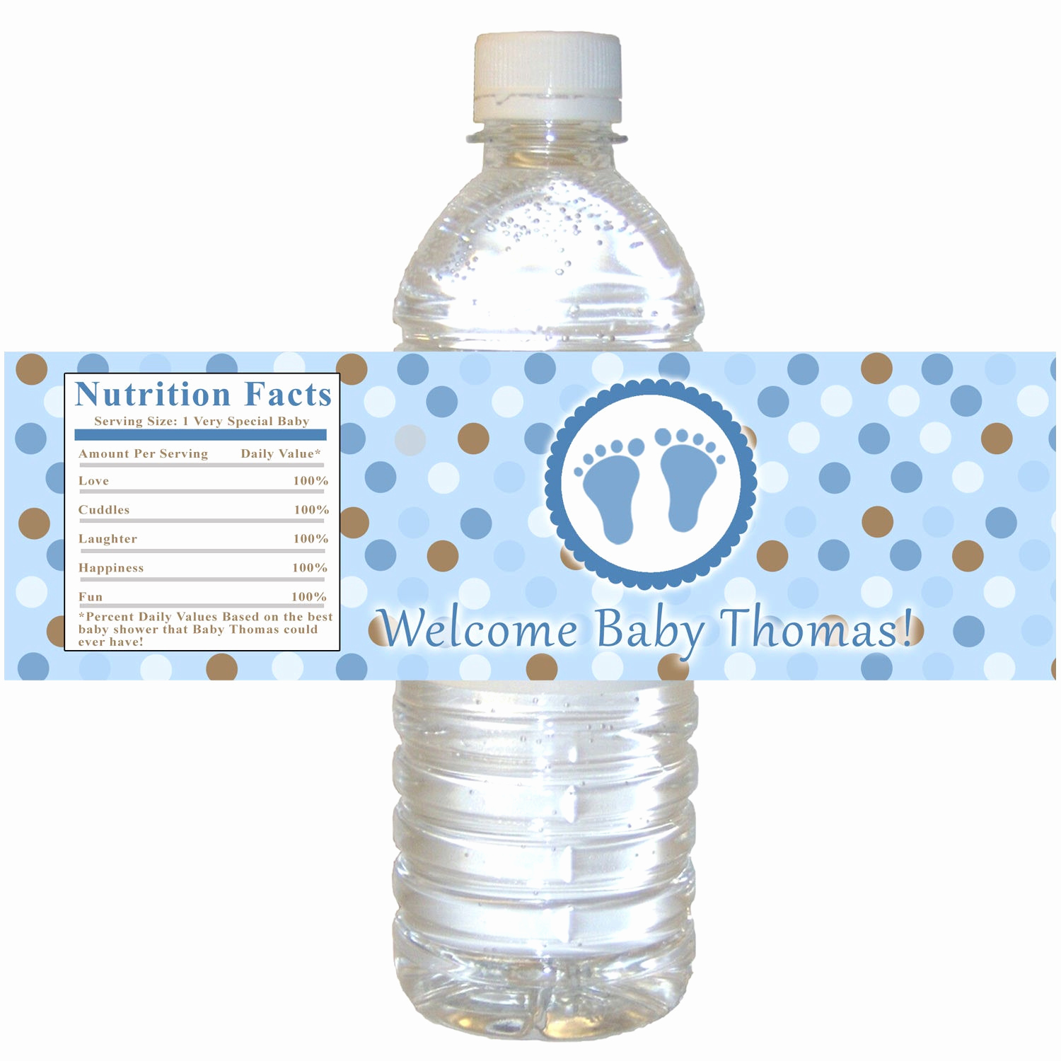 Printable Water Bottle Labels Fresh Printable Personalized Baby Feet Treads Water Bottle by