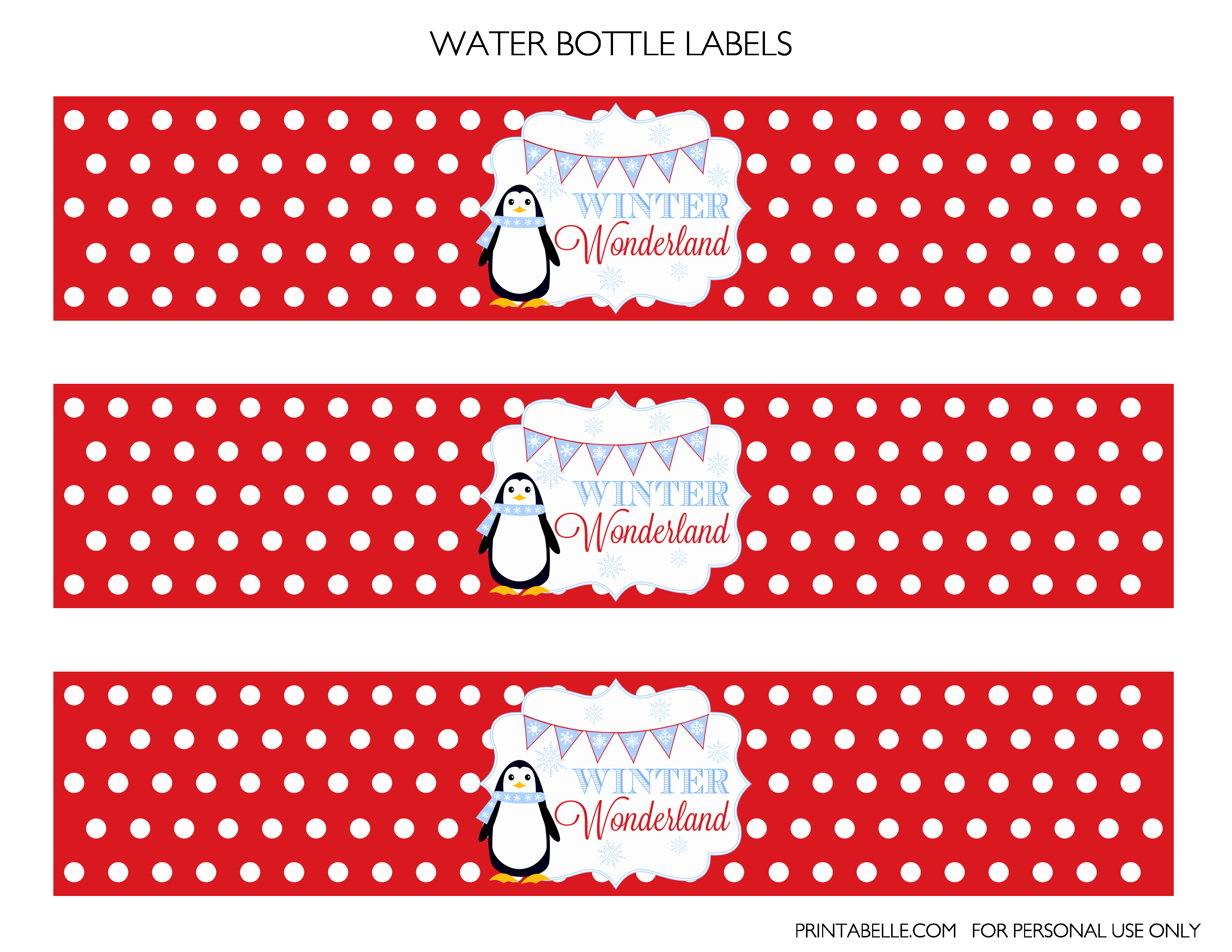 Printable Water Bottle Labels Inspirational Free Winter Wonderland Party Printables