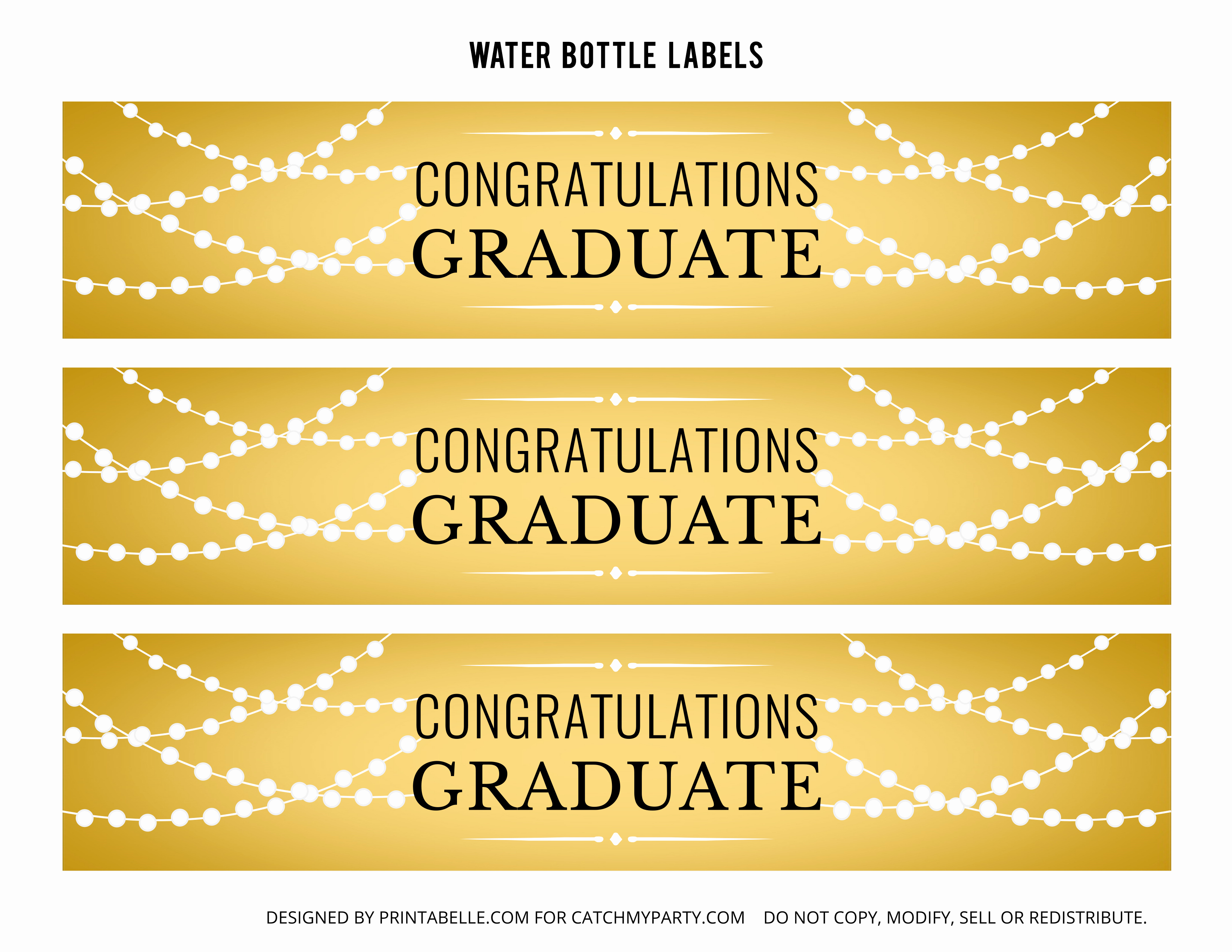 Printable Water Bottle Labels Luxury Free Gold Graduation Printables