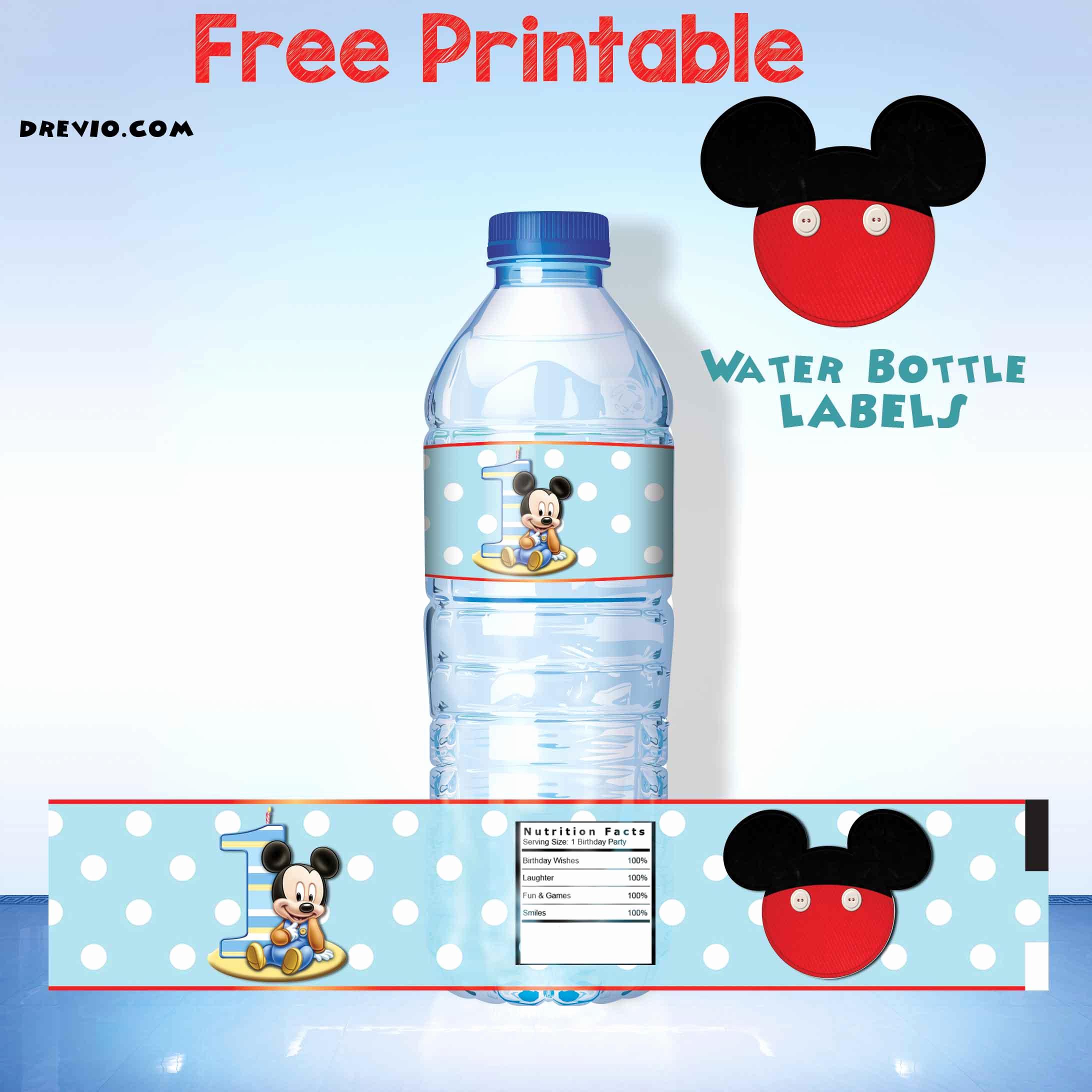 Printable Water Bottle Labels Unique Free Printable Mickey Mouse Water Bottle Label