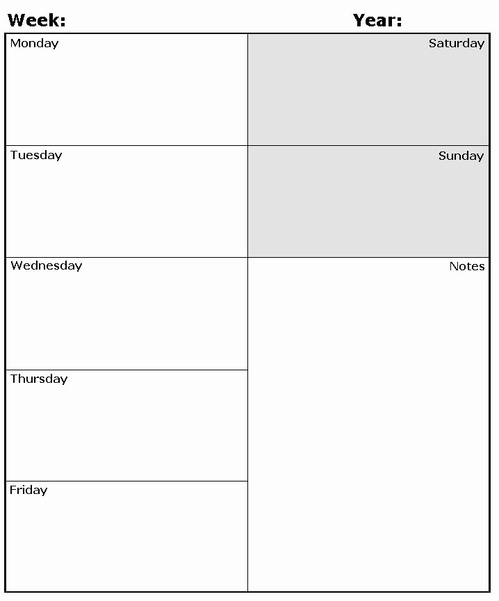 Printable Weekly Planner Template Awesome Weekly Planner Template
