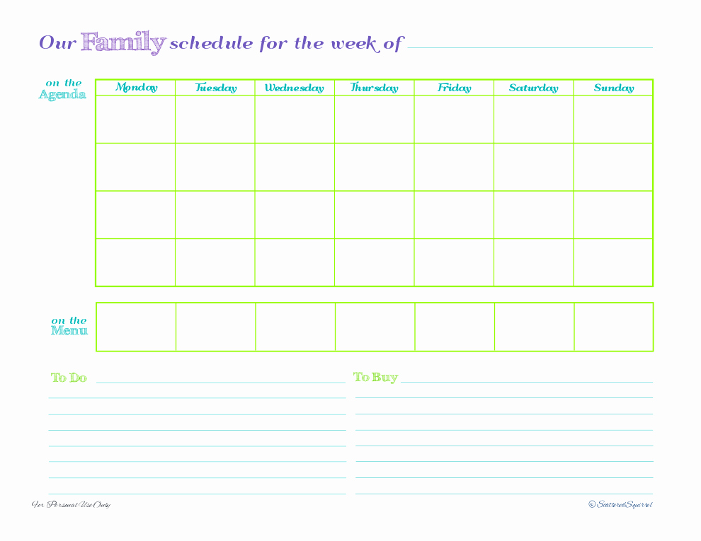 Printable Weekly Planner Template Best Of Day 5 Weekly Family Schedules Scattered Squirrel