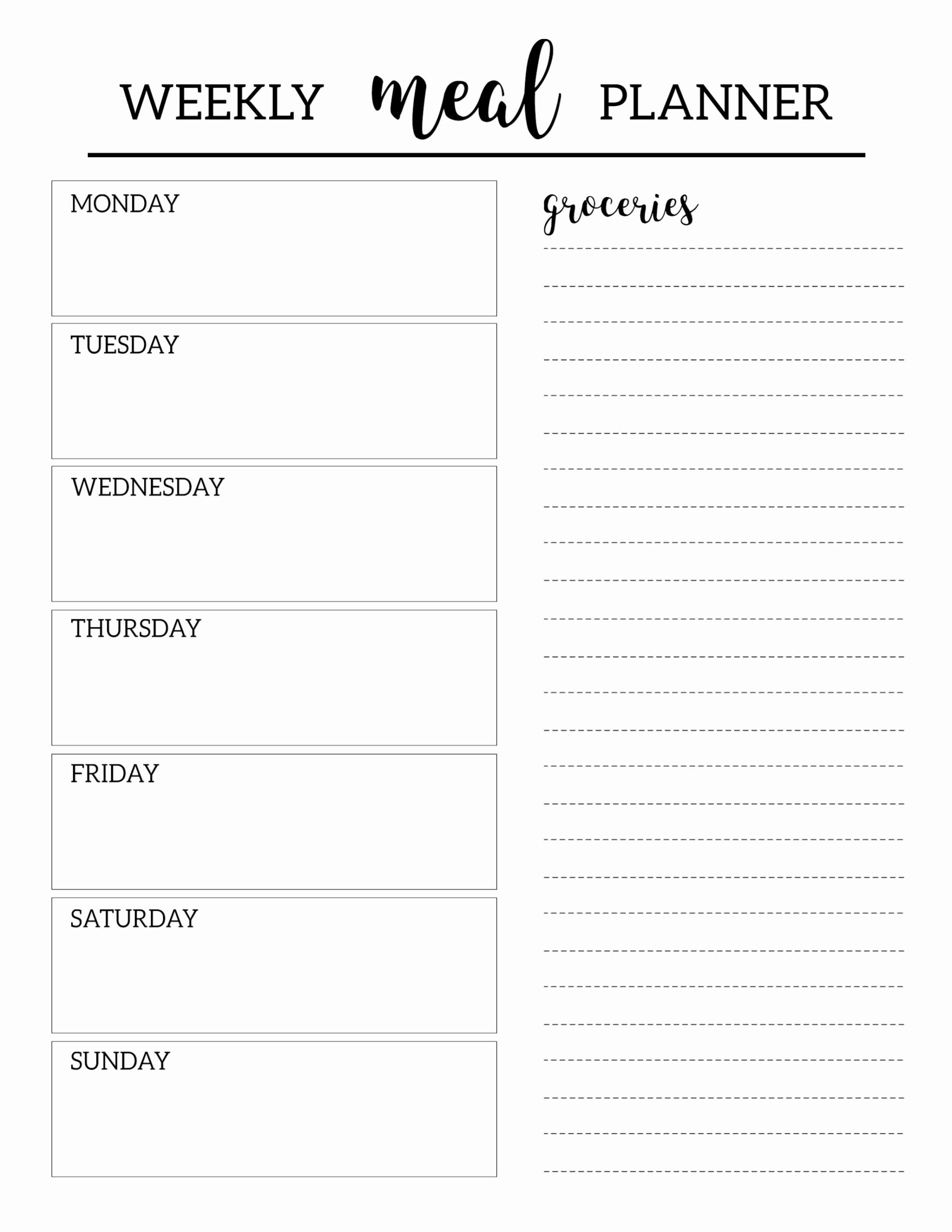 Printable Weekly Planner Template Elegant Free Printable Meal Planner Template Paper Trail Design