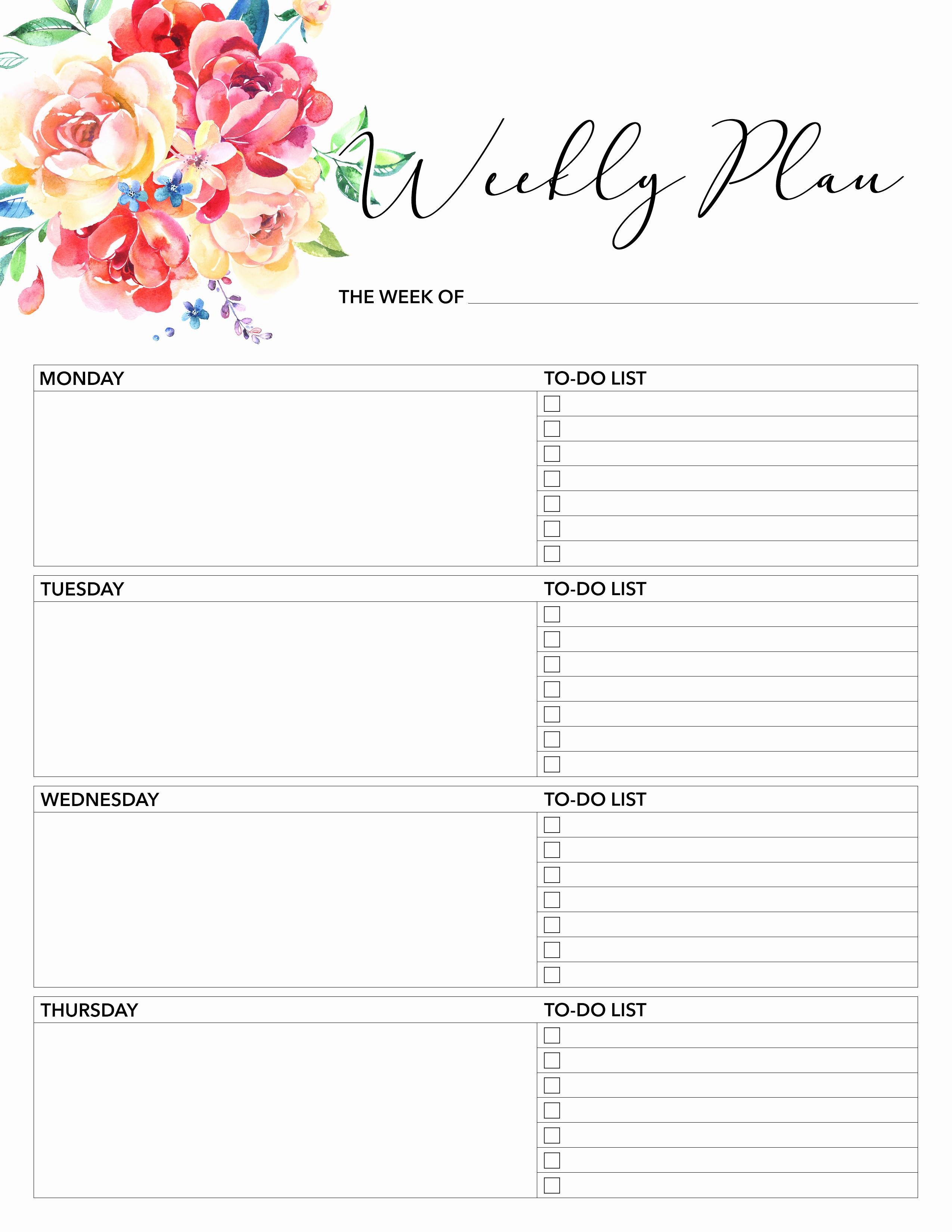 Printable Weekly Planner Template Fresh Free Printable 2018 Planner 50 Plus Printable Pages the