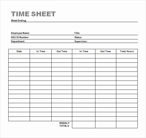 Printable Weekly Time Sheets Beautiful Sample Time Sheet 23 Example format