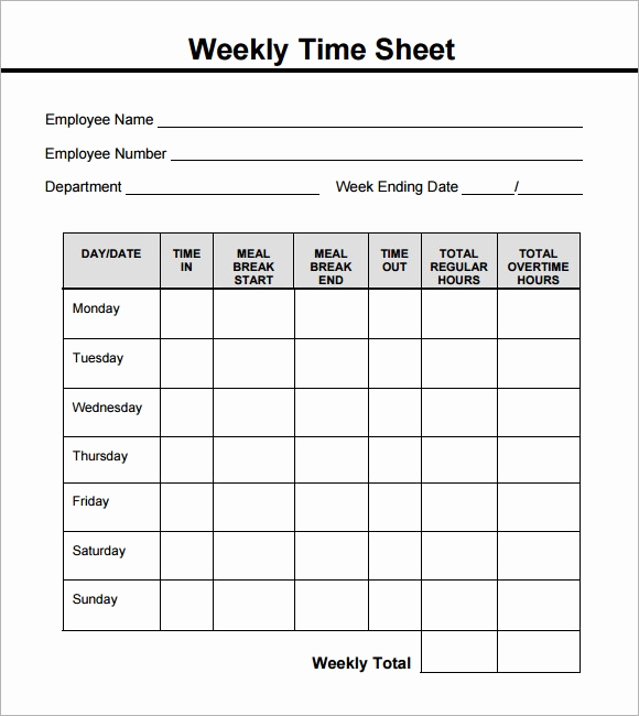 Printable Weekly Time Sheets Beautiful Weekly Timesheet Template 15 Free Download In Pdf