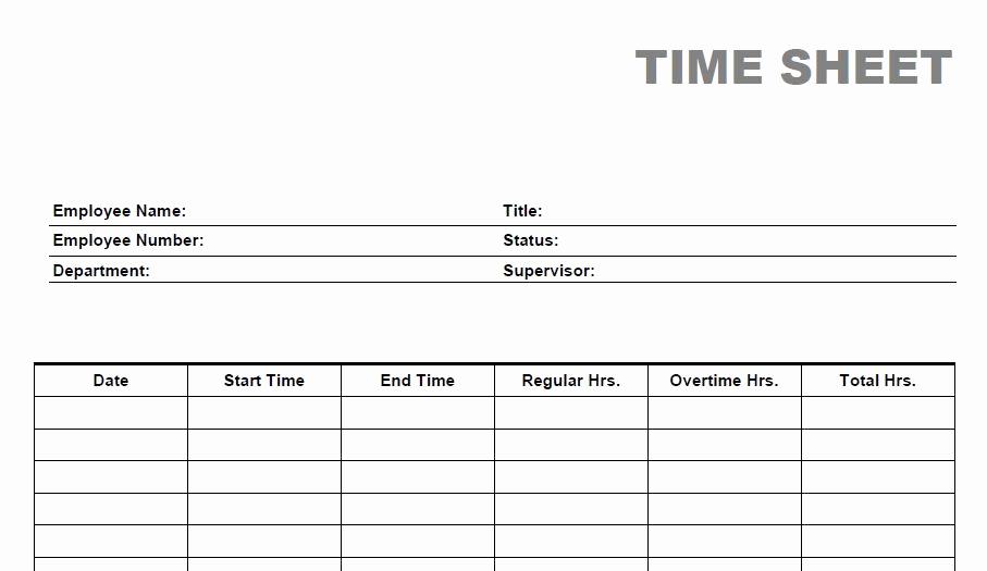 Printable Weekly Time Sheets Elegant Blank Time Sheet form