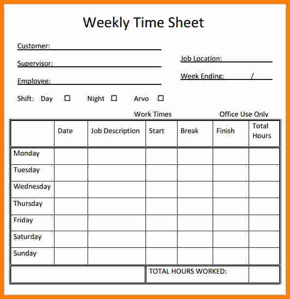 Printable Weekly Time Sheets Luxury Free Printable Timesheet Template – Blank Domestic
