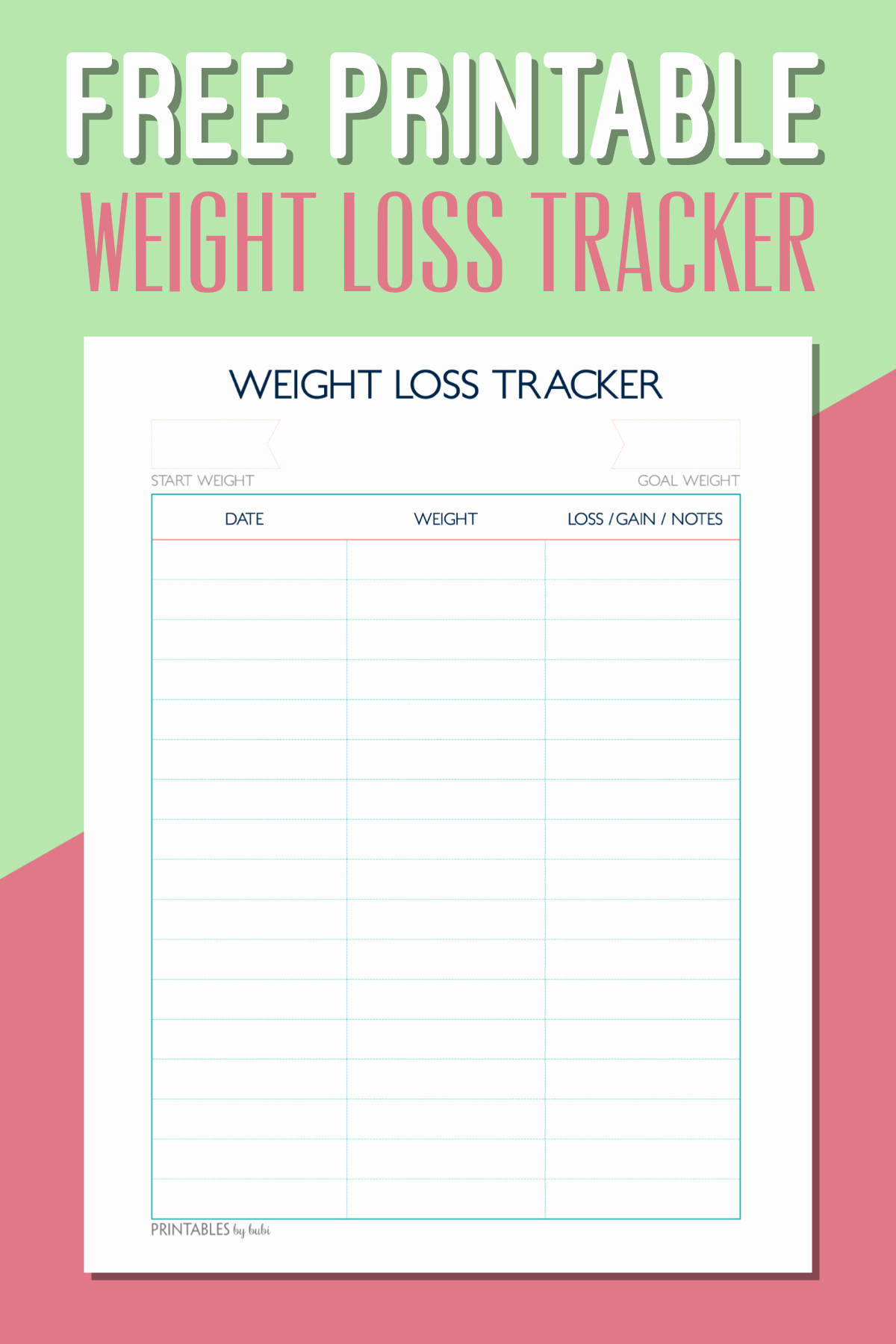 Printable Weight Loss Chart Awesome Free Printable Weight Loss Tracker – Instant Download Pdf