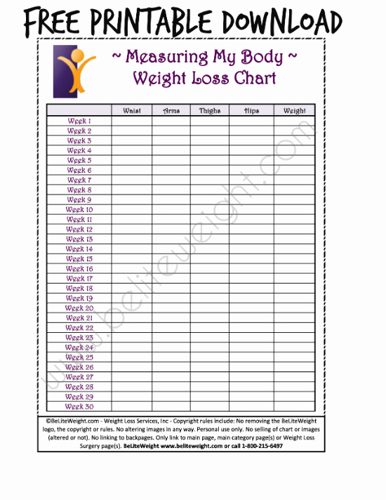 Printable Weight Loss Chart Awesome Keeping Track Your Weight Loss Tips & Free Printable