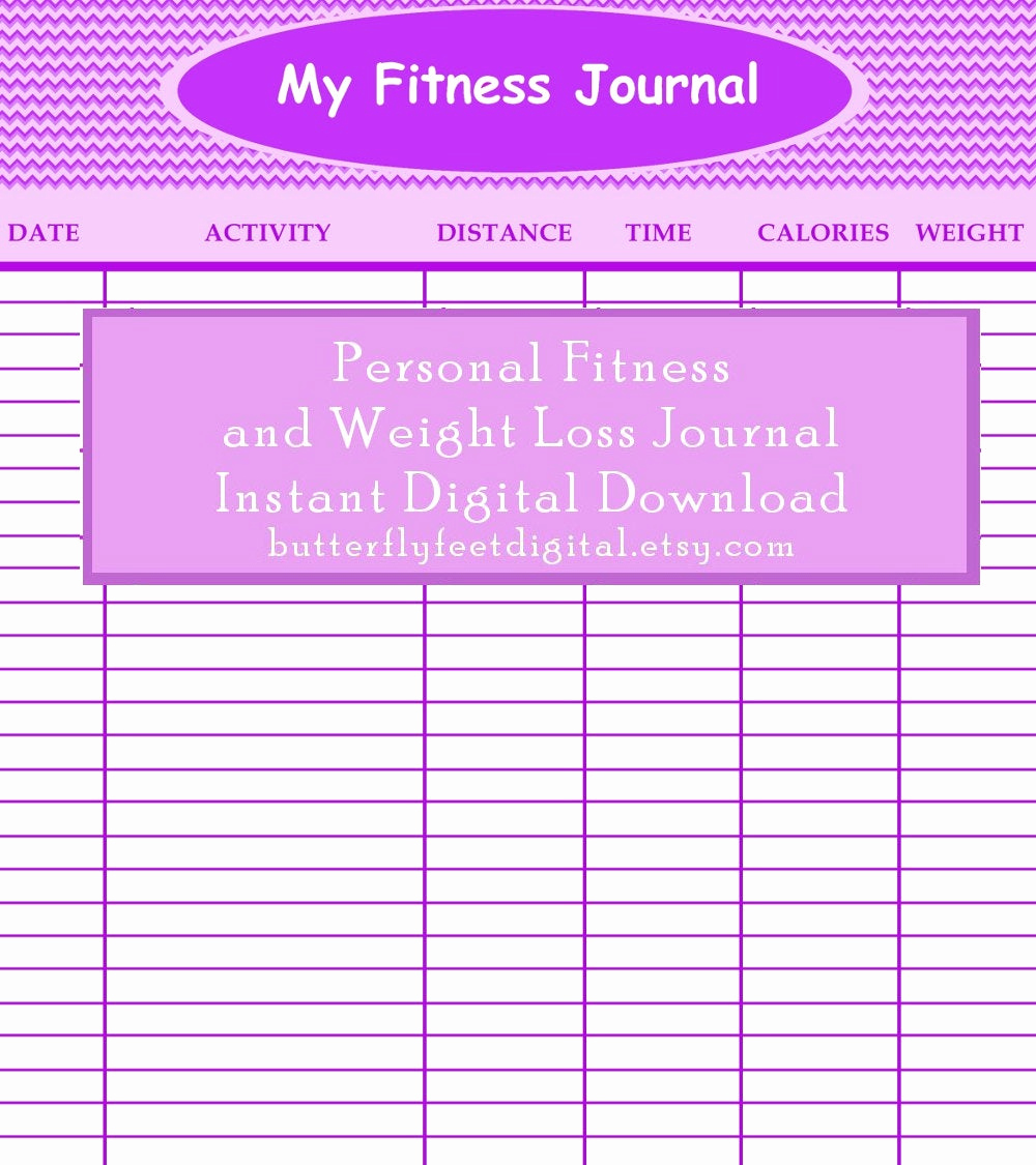 Printable Weight Loss Chart New Printable Fitness Journal Weight Loss Chart Exercise Log