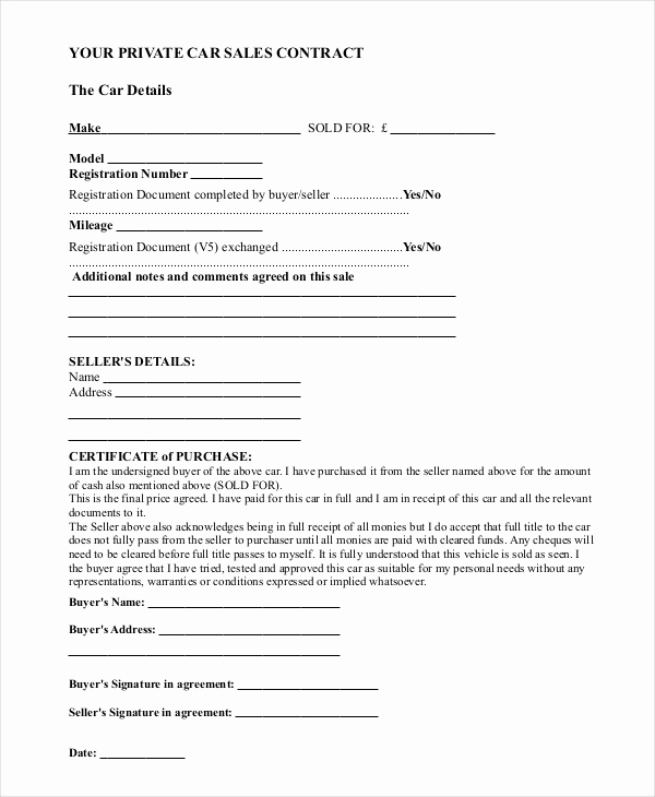 Private Car Sale Contract Payments Awesome Sample Car Sale Contract forms 8 Free Documents In Pdf Doc