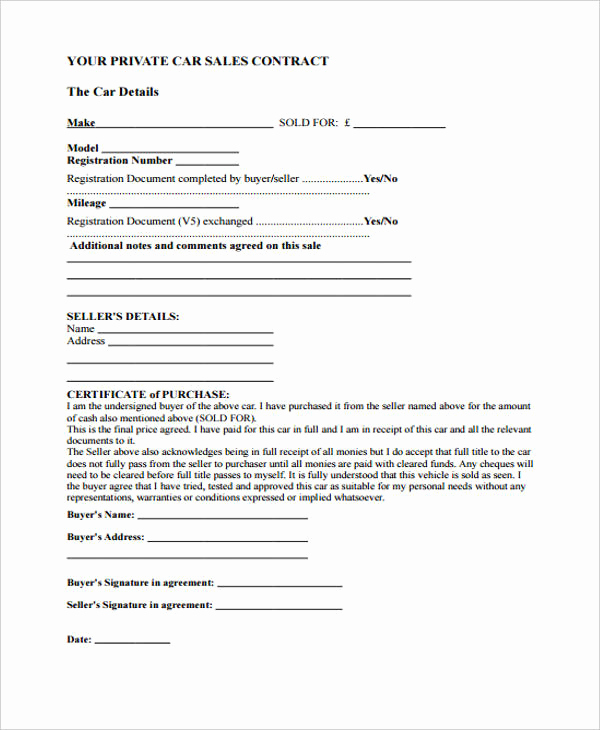 Private Car Sale Contract Payments Best Of 32 Sales Agreement form In Pdf