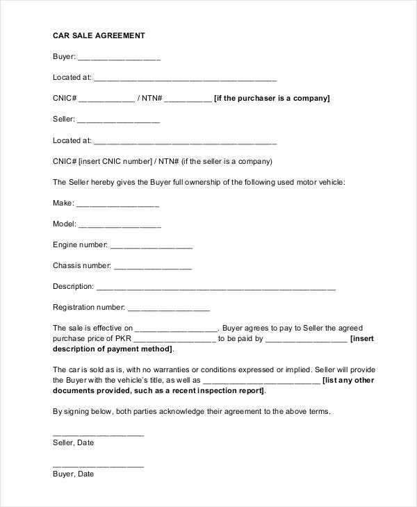 Private Car Sale Contract Payments Luxury Sample Car Sale Contract forms 8 Free Documents In Pdf Doc