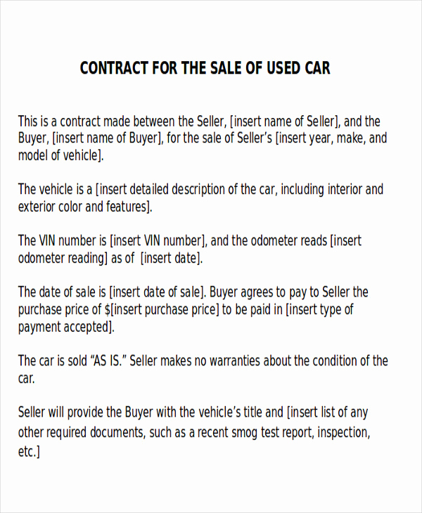 Private Car Sale Contract Payments Luxury Sample Car Sales Contract 12 Examples In Word Pdf